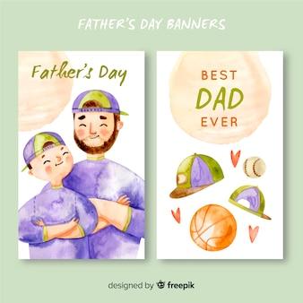 Banners de dia dos pais em aquarela