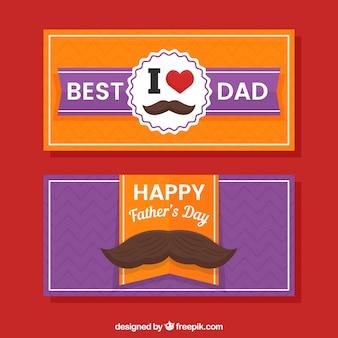Banners de dia dos pais laranja e roxo
