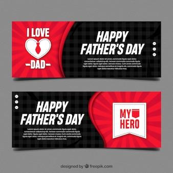 Banners de dia dos pais preto e vermelho