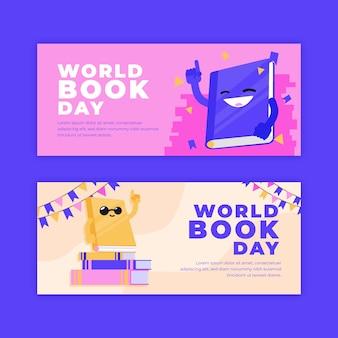 Banners de dia mundial do livro design plano