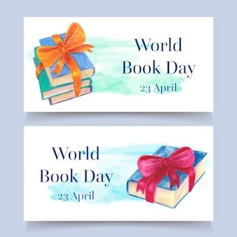 Banners de dia mundial do livro estilo aquarela