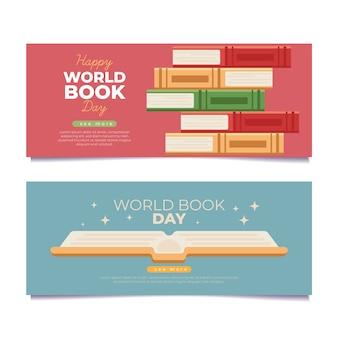 Banners de dia mundial do livro ilustrado plana
