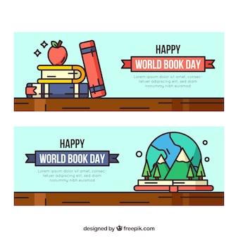 Banners de dia mundial do livro na mão desenhada estilo