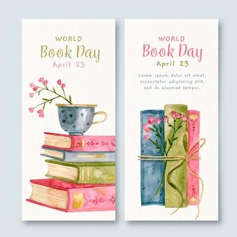 Banners de dia mundial livro aquarela