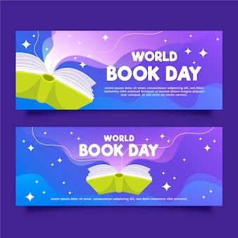 Banners de dia mundial livro plana