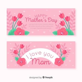 Banners de dia plana mãe