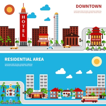 Banners de distritos urbanos