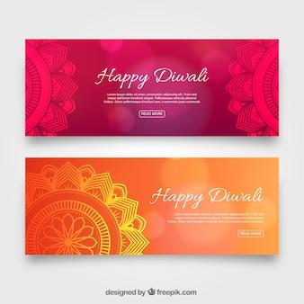 Banners de diwali elegantes e abstratos