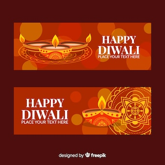 Banners de diwali web colorido com design liso
