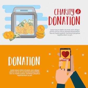 Banners de doação de caridade