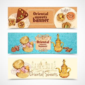 Banners de doces orientais