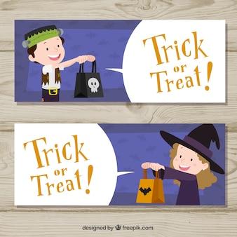 Banners de doçura ou travessura com crianças do dia das bruxas