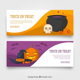 Banners de doçura ou travessura com elementos do dia das bruxas