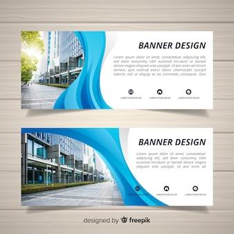 Banners de edifício de escritórios modernos com foto