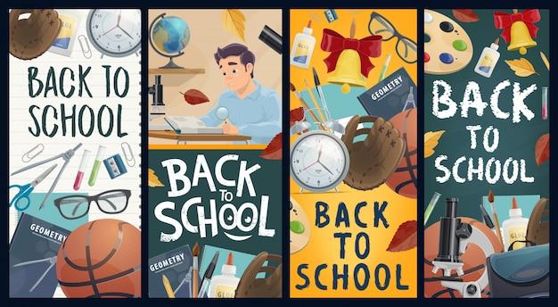 Banners de educação de volta às aulas