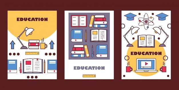 Banners de educação folheto do ensino médio cobre panfleto informativo da faculdade