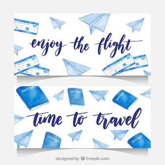 Banners de elemento de viagem de aquarela