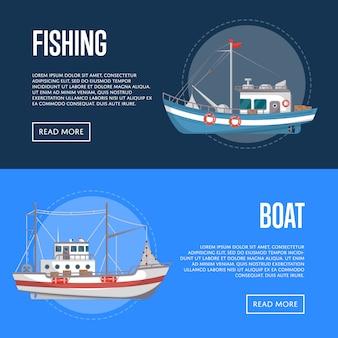 Banners de empresas de pesca com pequenas embarcações comerciais
