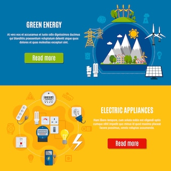 Banners de energia verde e aparelhos elétricos