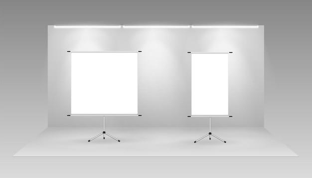 Banners de enrolar cartazes publicitários modelo de cartaz promocional branco vazio modelo de suporte de informações