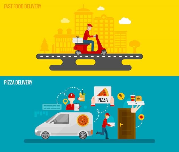 Banners de entrega de fast food e pizza