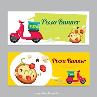 Banners de entrega de pizza