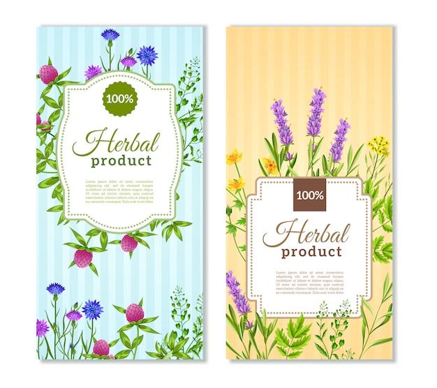 Banners de ervas e flores silvestres