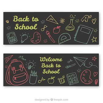 Banners de esboço coloridos das costas para a escola