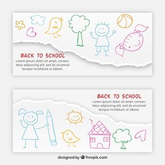 Banners de esboço coloridos de volta à escola