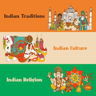 Banners de esboço da índia definidos