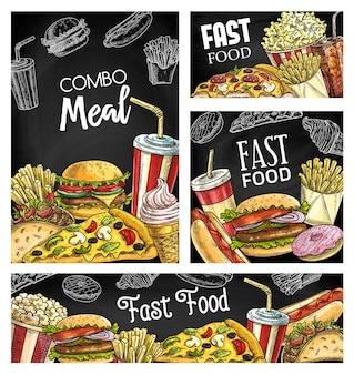 Banners de esboço de lousa com refeições e bebidas fast food