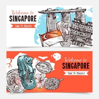 Banners de esboço desenhado de mão de singapura