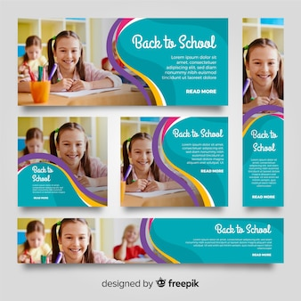 Banners de escola linda com foto