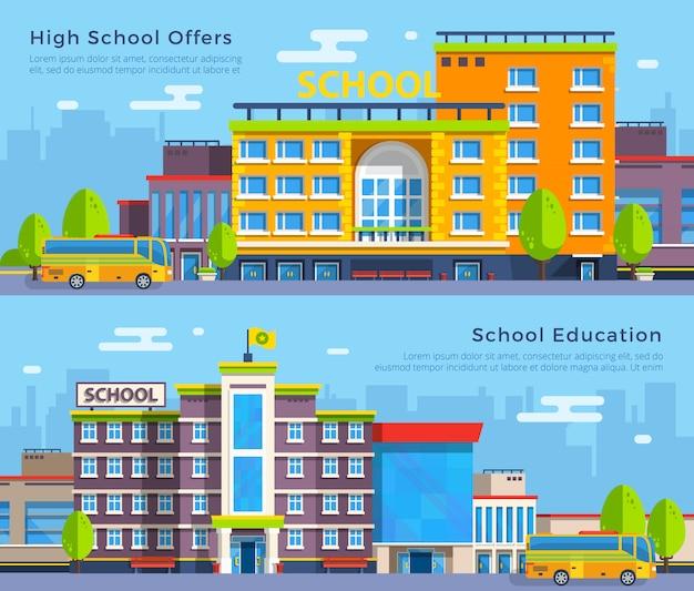 Banners de escola plana