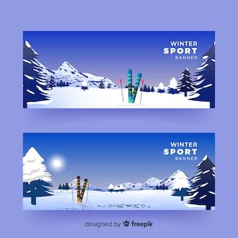 Banners de esporte de inverno realista