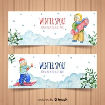 Banners de esporte de inverno