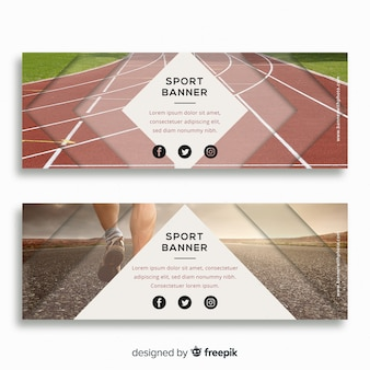 Banners de esporte moderno com foto