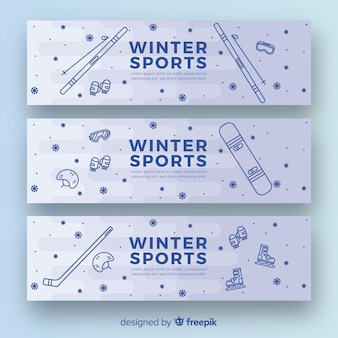 Banners de esportes de inverno