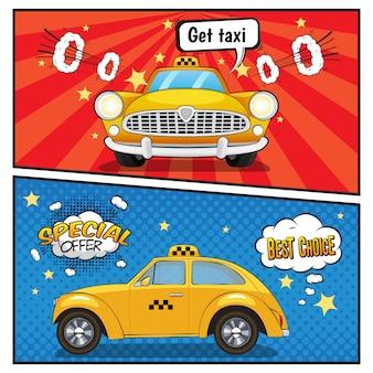 Banners de estilo cômico de serviço de táxi