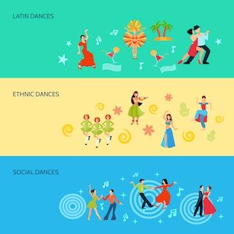 Banners de estilo de dança plana