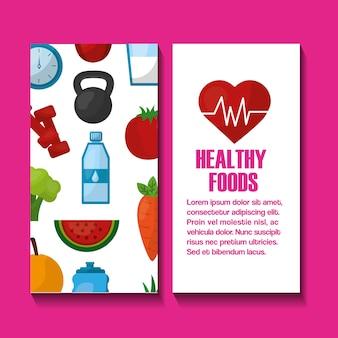 Banners de estilo de vida saudável coração fitness frutas legumes