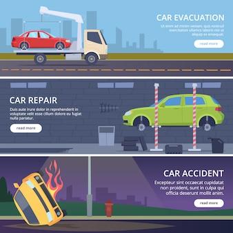 Banners de estrada de acidente. paisagem urbana com carros danificados acidente coleção de fotos de vetor de transporte quebrado