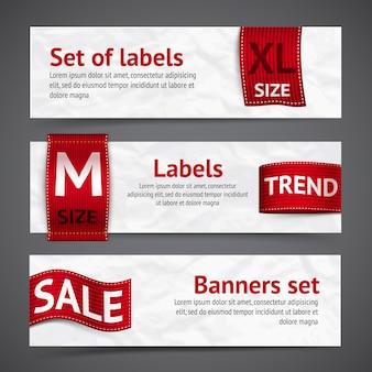 Banners de etiquetas de roupa