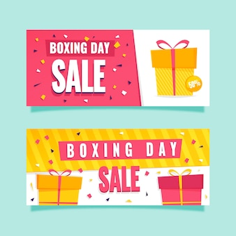 Banners de evento de boxing day de design plano