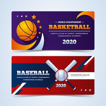 Banners de eventos esportivos cancelados