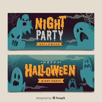 Banners de fantasma vintage halloween
