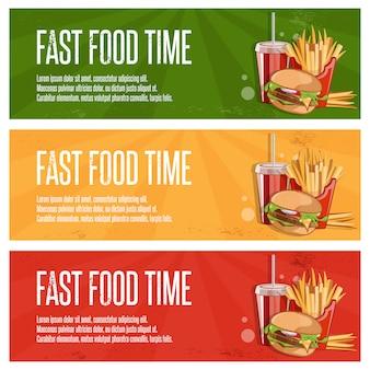 Banners de fast-food com hambúrguer, batatas fritas e coca-cola