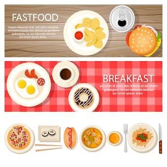 Banners de fastfood conjunto com alimentos