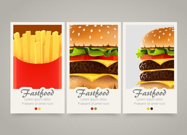 Banners de fastfood verticais coloridos modernos.