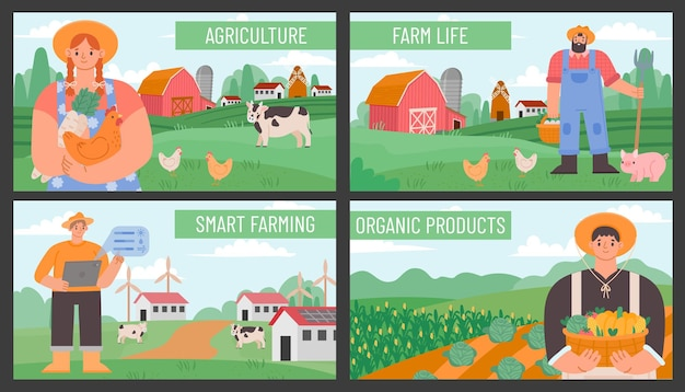 Banners de fazenda. cartazes com agricultores e paisagem rural de agricultura. tecnologia de agricultura inteligente e ecológica. conjunto de vetores de produtos agrícolas orgânicos